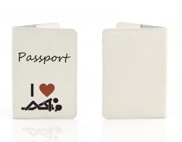 Кожаная обложка на паспорт Я Люблю фото