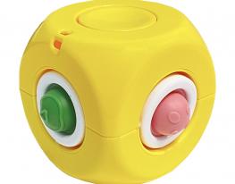 Игрушка антистресс Simple Dimple спиннер куб желтый фото 1