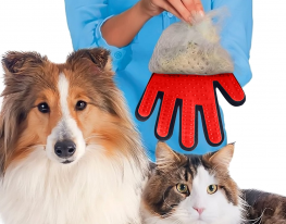 Перчатка для вычесывания шерсти правая Красная фото 1