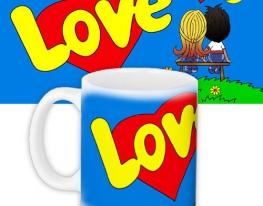 Кружка с принтом Love is... синяя фото