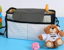 Сумка - органайзер для детской коляски Серая фото