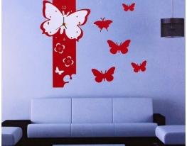 Объемные часы - наклейка Красные Бабочки фото