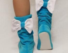 Тапочки Бантики голубые с белым бантом фото