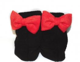 Тапочки Бантики черные с красным бантом фото