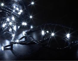 Гирлянда светодиодная LED 200 с черным проводом белая фото 2
