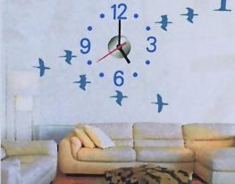 Объемные часы - наклейка Журавли фото