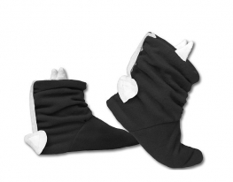 Тапочки Чертики черные с белыми рожками фото