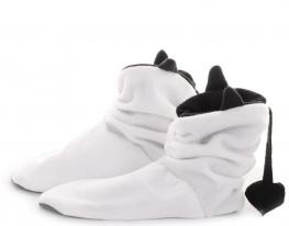 Тапочки Чертики белые с черными рожками фото