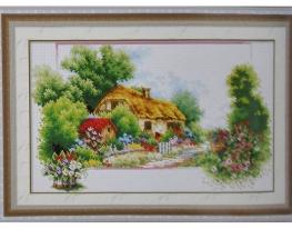 Набор для вышивки картины Лесная хижина 64х43см фото
