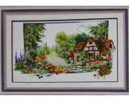 Набор для вышивки картины Домик на опушке 60х39см фото