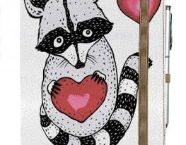 Блокнот на резинке Rainbow Енотик с сердцем фото