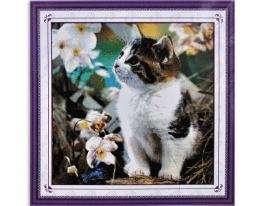 Набор для вышивки картины Котенок на клумбе 53х52см фото
