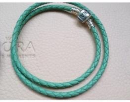 Мятный кожаный браслет Pandora в два оборота