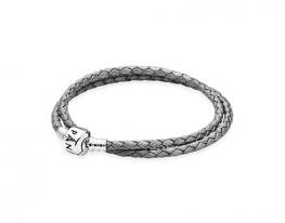 Серый кожаный браслет Pandora в два оборота