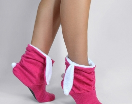 Тапочки Зайчики розовые с белыми ушами фото