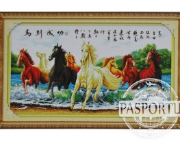 Набор для вышивки картины Лошади в реке 119х67см фото