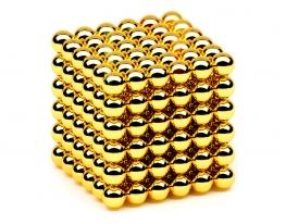 Магнитная игрушка головоломка Неокуб 216 шариков. Золото фото