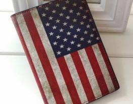 Кожаная обложка на паспорт Американский флаг фото