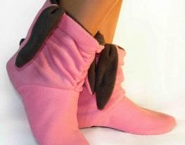 Тапочки Зайчики розовые с серыми ушами фото