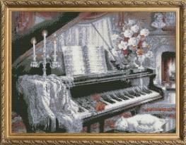 Набор для вышивки картины У рояля 58х45см фото