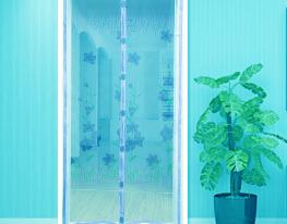 Дверная антимоскитная шторка на магнитах Голубой Ажур фото