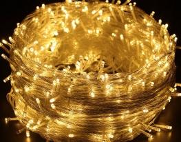 Гирлянда светодиодная LED 400 белый провод Жёлтая фото