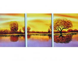 Набор для вышивки триптих картины Золотая Осень 157х71см фото
