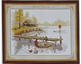 Набор для вышивки картины Домик у реки 47х37см фото