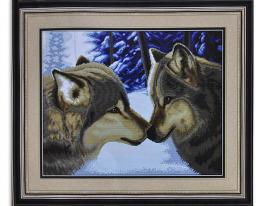 Набор для вышивки картины Волк и Волчица 68х55см фото