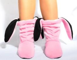 Тапочки Зайчики розовые с черными ушами фото