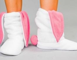 Тапочки Зайчики белые с розовыми ушами фото