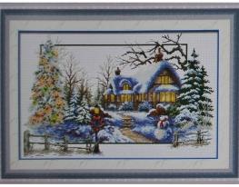 Набор для вышивки картины Снежная Зима 73х49см фото