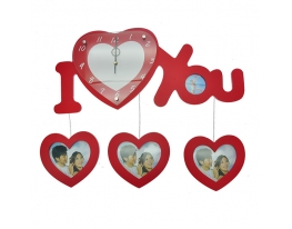 Семейные часы I Love You Красные фото