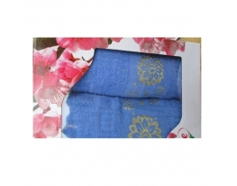 Подарочный набор полотенец Золотые цветы фото