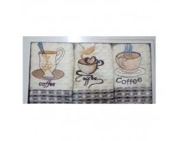 Набор кухонных вафельных полотенец Кофейный фото