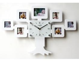 Часы настенные Родовое дерево на 7 фото белые фото