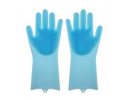 Силиконовые перчатки для уборки и мытья посуды Magic Silicone Gloves Голубые фото 3