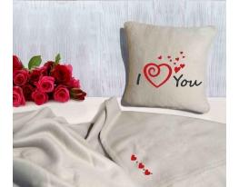 Набор подушка и плед с вышивкой I love you! Беж фото