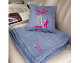 Набор подушка и плед с вышивкой Best Mama! Серый фото