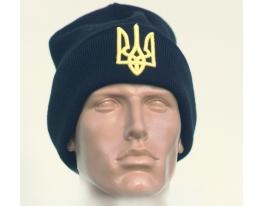Шапка с украинской символикой Герб кобальт фото