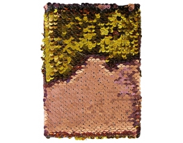 Блокнот антистресс с пайетками-перевертышами золотисто-розовый фото 2