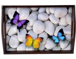 Поднос на подушке с ручками темный Бабочки фото