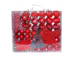 Набор новогодних шаров Красное Ассорти 50шт фото