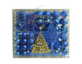 Набор новогодних шаров Синее Ассорти 50шт фото