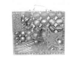 Набор новогодних шаров Серебряное Ассорти 50шт фото