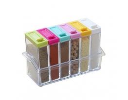 Кухонная подставка для хранения специй с 6-ю емкостями Seasoning Six Piece Set фото