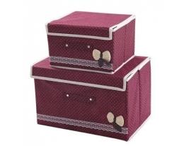 Короб кофр для хранения для детских игрушек, вещей с крышкой. Набор 2 шт. Бордовый фото