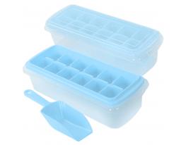 Форма для льда с контейнером и лопаткой 27*10см Голубая фото 5