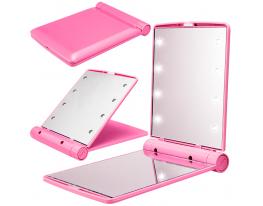 Карманное зеркало для макияжа складное с LED подсветкой фото 5
