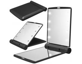Карманное зеркало складное с LED подсветкой черное фото